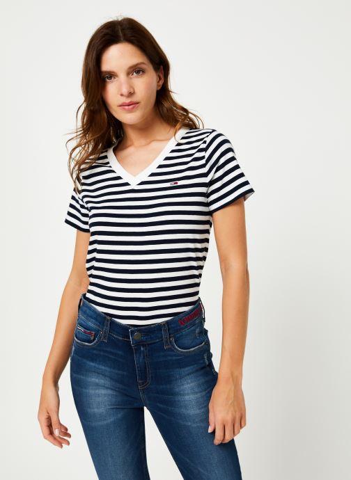 Vêtements Tommy Jeans TJW TOMMY CLASSICS V-NECK TEE Bleu vue droite