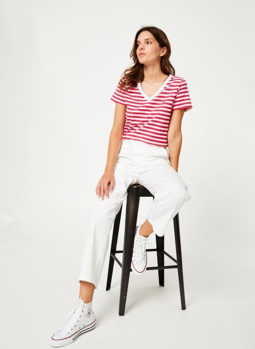 Vêtements Tommy Jeans TJW TOMMY CLASSICS V-NECK TEE Rose vue bas / vue portée sac