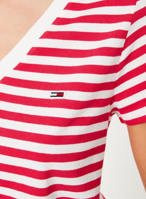 Vêtements Tommy Jeans TJW TOMMY CLASSICS V-NECK TEE Rose vue face
