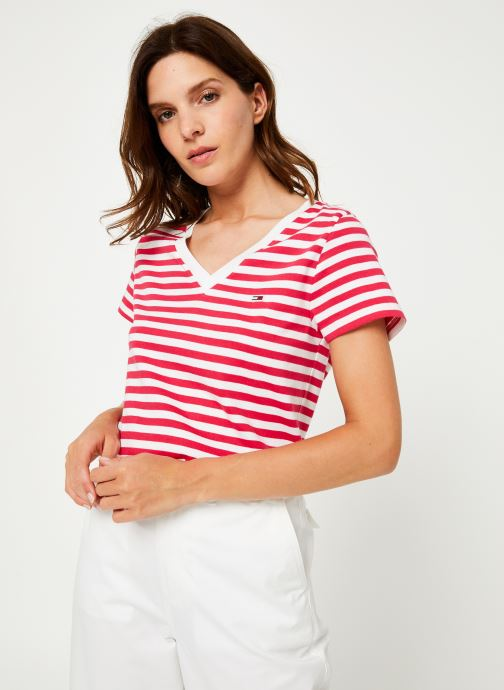 Vêtements Tommy Jeans TJW TOMMY CLASSICS V-NECK TEE Rose vue droite