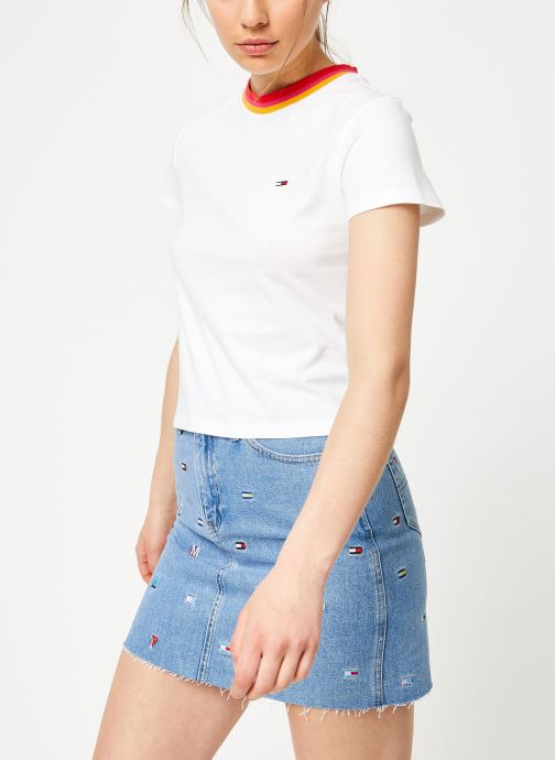 Vêtements Tommy Jeans TJW SOLID BABY TEE Blanc vue droite