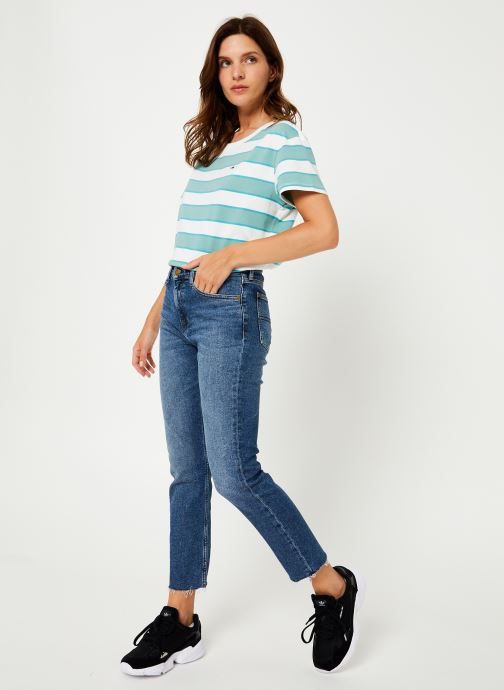 Vêtements Tommy Jeans TJW STRIPE CROPPED BOXY CREW Bleu vue bas / vue portée sac