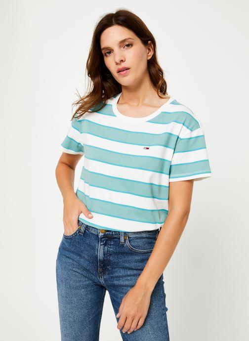 Vêtements Tommy Jeans TJW STRIPE CROPPED BOXY CREW Bleu vue droite
