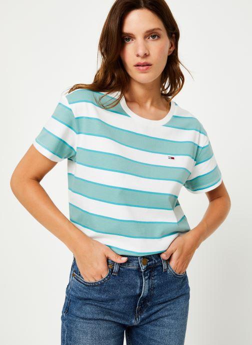 Vêtements Tommy Jeans TJW STRIPE CROPPED BOXY CREW Bleu vue détail/paire
