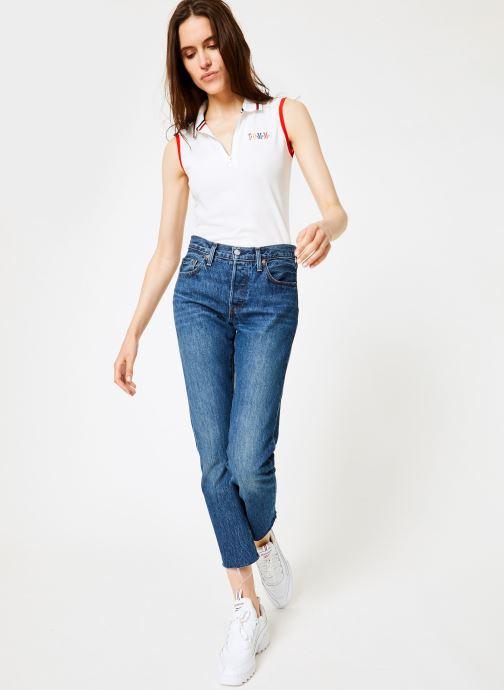 Vêtements Tommy Jeans TJW SLEEVELESS POLO Blanc vue bas / vue portée sac