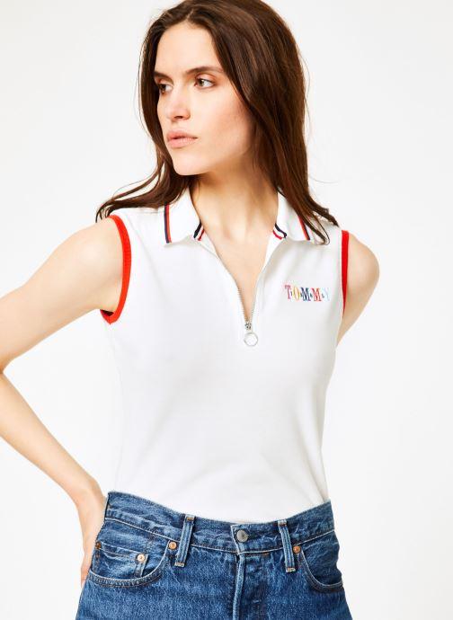 Vêtements Tommy Jeans TJW SLEEVELESS POLO Blanc vue détail/paire