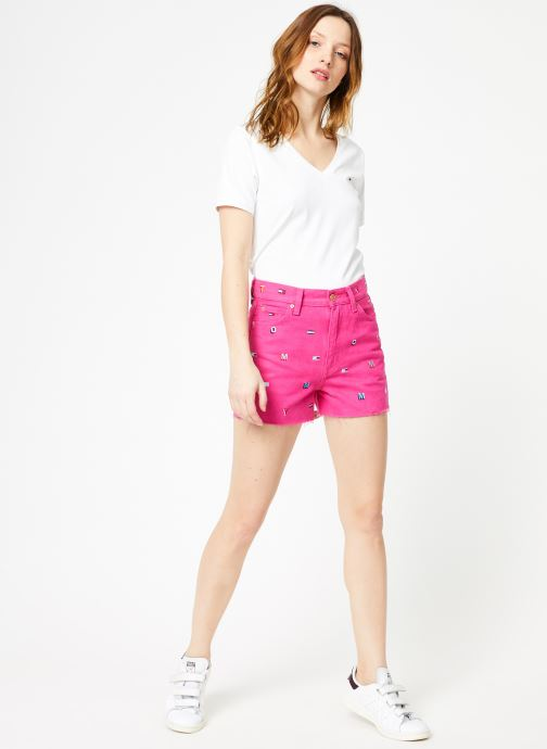 Vêtements Tommy Jeans TJW SHORTSLEEVE STRETCH TEE Blanc vue bas / vue portée sac