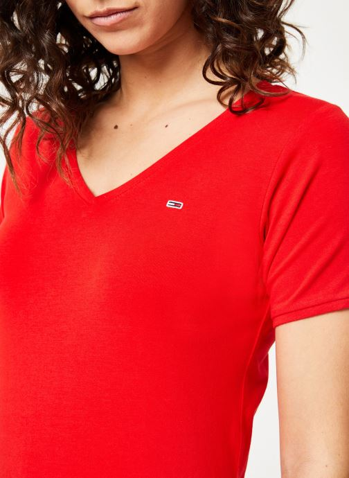 Vêtements Tommy Jeans TJW SHORTSLEEVE STRETCH TEE Rouge vue face