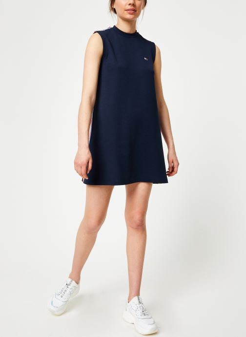 Vêtements Tommy Jeans TJW A-LINE SOLID TAPE DRESS Bleu vue bas / vue portée sac