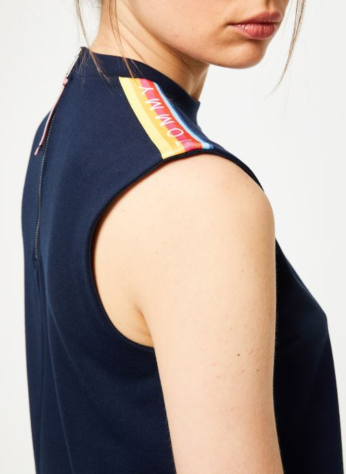 Vêtements Tommy Jeans TJW A-LINE SOLID TAPE DRESS Bleu vue face