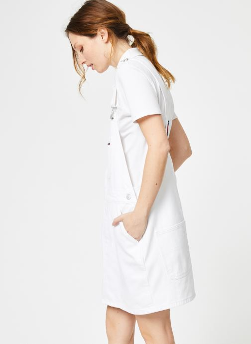 Vêtements Tommy Jeans CLASSIC DUNGAREE DRESS Blanc vue droite