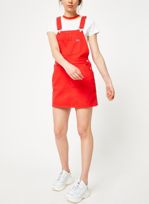 Vêtements Tommy Jeans CLASSIC DUNGAREE DRESS Rouge vue bas / vue portée sac