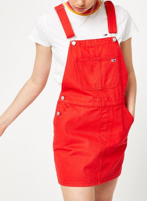 Vêtements Tommy Jeans CLASSIC DUNGAREE DRESS Rouge vue droite