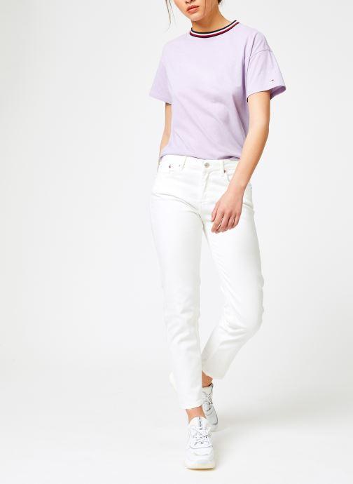 Vêtements Tommy Jeans TJW BACK DETAIL TEE Violet vue bas / vue portée sac