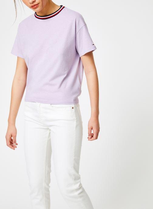 Vêtements Tommy Jeans TJW BACK DETAIL TEE Violet vue droite