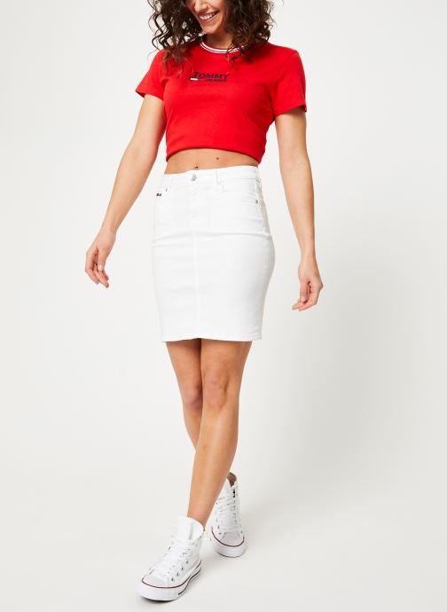 Vêtements Tommy Jeans REGULAR DENIM SKIRT Blanc vue bas / vue portée sac