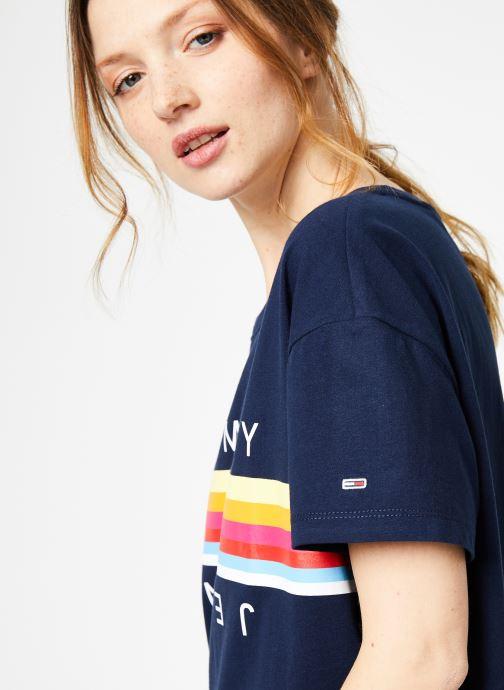 Vêtements Tommy Jeans TJW MULTICOLOR LINE LOGO TEE Bleu vue face