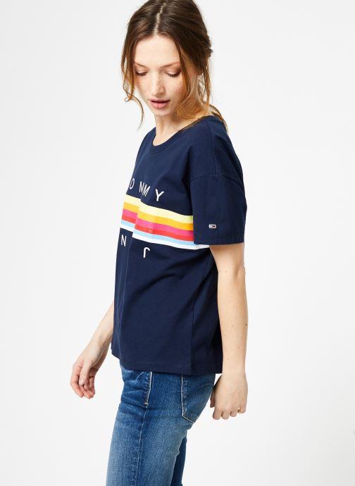 Vêtements Tommy Jeans TJW MULTICOLOR LINE LOGO TEE Bleu vue droite