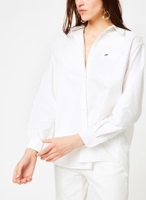 Vêtements Tommy Jeans TJW TOMMY CLASSICS SHIRT Blanc vue droite