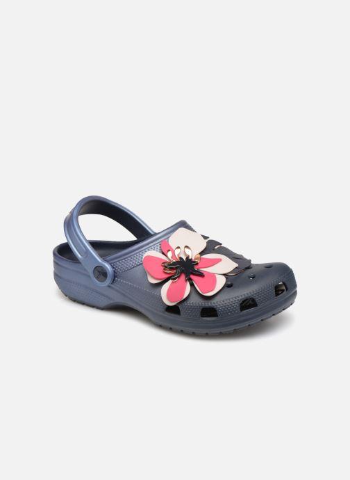 Sandales et nu-pieds Crocs Classic Botanical Floral Clog Bleu vue détail/paire