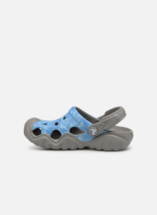 Sandalias Crocs Swiftwater Graphic Clog K Azul vista de frente