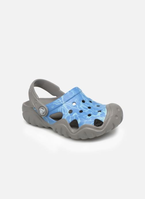 Sandales et nu-pieds Crocs Swiftwater Graphic Clog K Bleu vue détail/paire