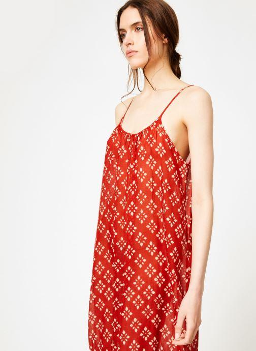 Vêtements La Cabane de Stella 01.ROBE LONGUE VOLANT SHIBURI Rouge vue droite
