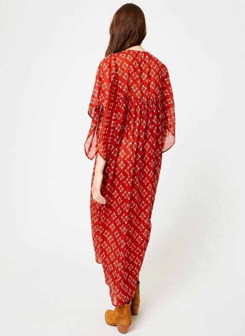 Vêtements La Cabane de Stella 01.ROBE LG AMPLE SHIBURI Rouge vue portées chaussures