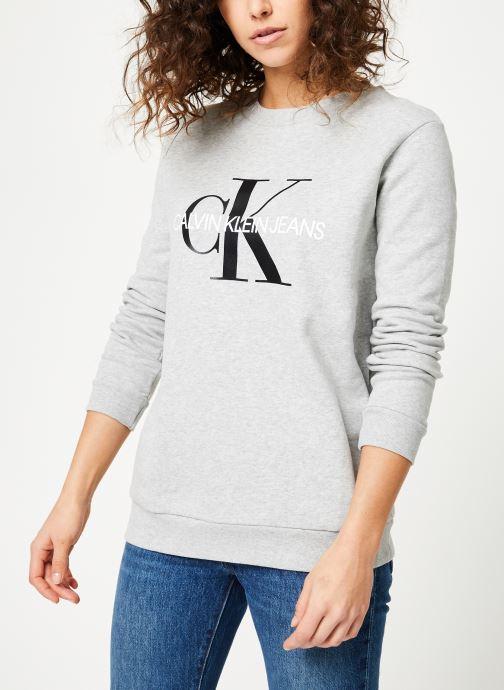 Vêtements Calvin Klein Jeans Core Monogram Logo Sweatshirt Gris vue droite