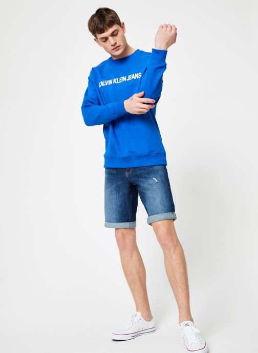 Vêtements Calvin Klein Jeans INSTITUTIONAL LOGO REG CREW NECK Bleu vue bas / vue portée sac