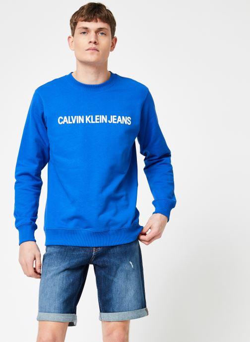 Vêtements Calvin Klein Jeans INSTITUTIONAL LOGO REG CREW NECK Bleu vue droite