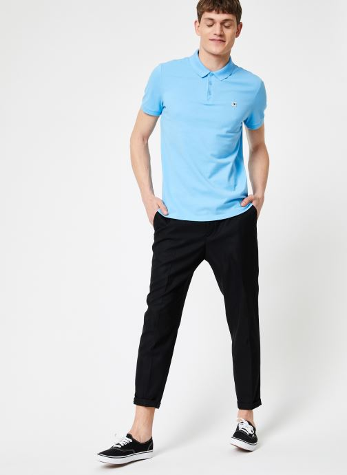 Vêtements Calvin Klein Jeans CKJ LOGO PIQUE SLIM POLO Bleu vue bas / vue portée sac