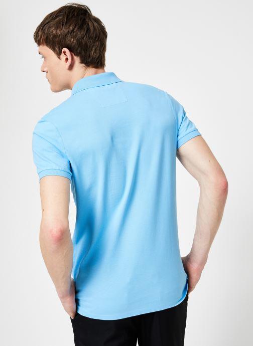 Vêtements Calvin Klein Jeans CKJ LOGO PIQUE SLIM POLO Bleu vue portées chaussures