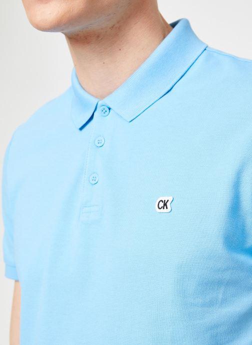 Vêtements Calvin Klein Jeans CKJ LOGO PIQUE SLIM POLO Bleu vue face