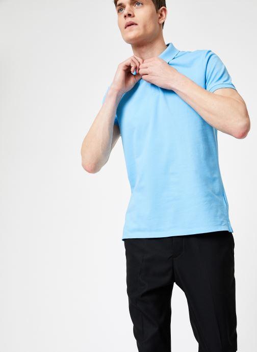 Vêtements Calvin Klein Jeans CKJ LOGO PIQUE SLIM POLO Bleu vue droite