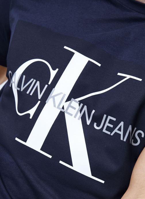Vêtements Calvin Klein Jeans Core Monogram Box Logo Slim Tee Bleu vue face