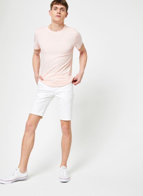 Vêtements Calvin Klein Jeans CHEST INSTITUTIONAL SLIM SS TEE Rose vue bas / vue portée sac