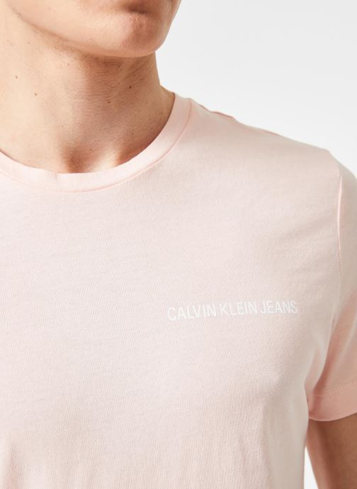 Vêtements Calvin Klein Jeans CHEST INSTITUTIONAL SLIM SS TEE Rose vue face