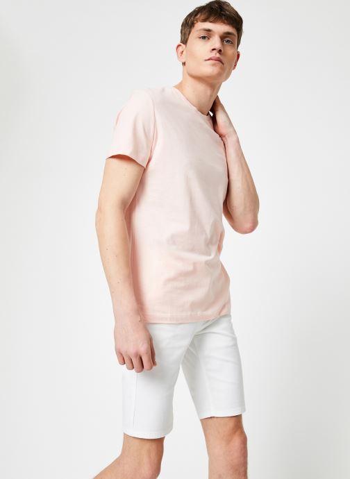 Vêtements Calvin Klein Jeans CHEST INSTITUTIONAL SLIM SS TEE Rose vue droite