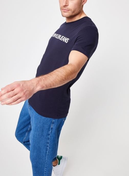 Vêtements Calvin Klein Jeans CORE INSTITUTIONAL LOGO  SLIM SS TEE Bleu vue droite