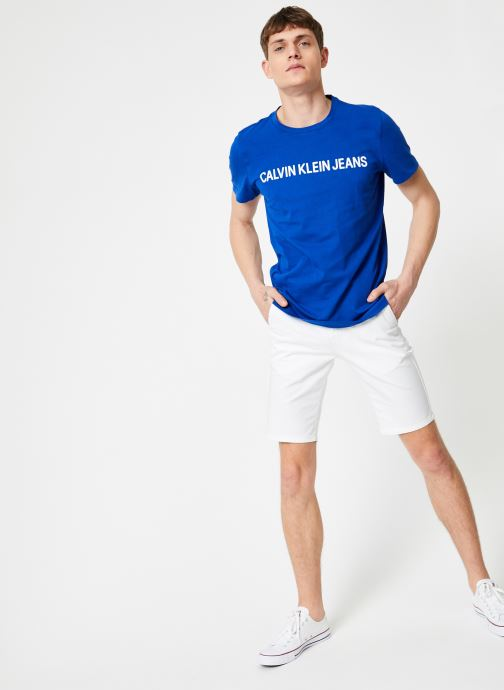 Vêtements Calvin Klein Jeans INSTITUTIONAL LOGO  SLIM SS TEE Bleu vue bas / vue portée sac