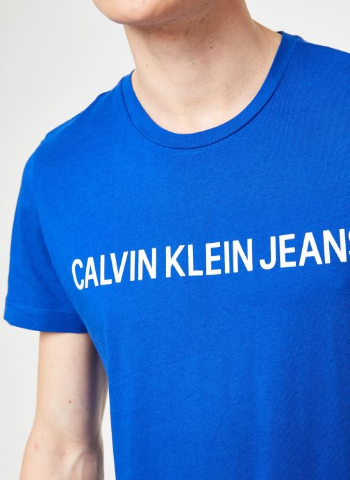 Vêtements Calvin Klein Jeans INSTITUTIONAL LOGO  SLIM SS TEE Bleu vue face