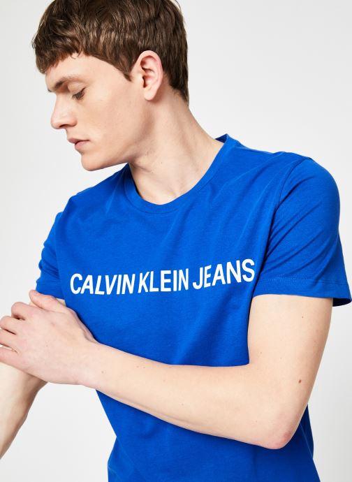Vêtements Calvin Klein Jeans INSTITUTIONAL LOGO  SLIM SS TEE Bleu vue détail/paire