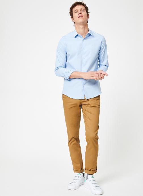 Vêtements Calvin Klein Jeans CKJ SLIM STRETCH SHIRT Bleu vue bas / vue portée sac