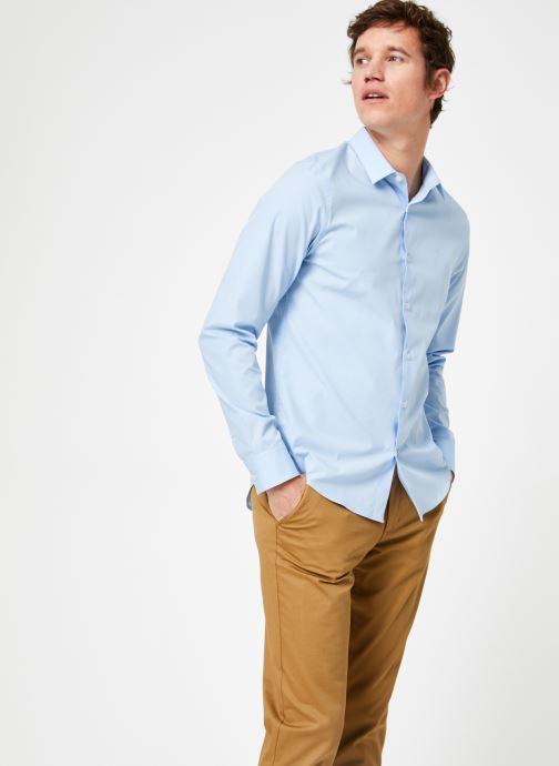 Vêtements Calvin Klein Jeans CKJ SLIM STRETCH SHIRT Bleu vue droite