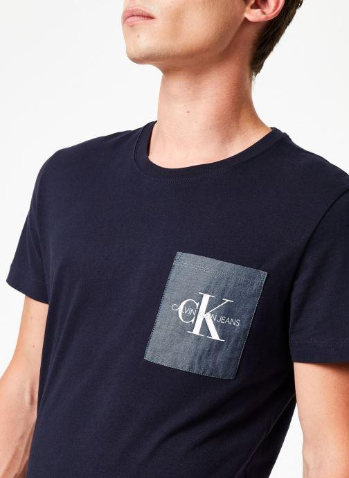 Vêtements Calvin Klein Jeans MONOGRAM POCKET SLIM SS TEE Bleu vue face