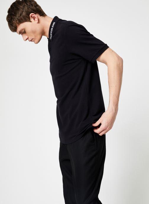 Vêtements Calvin Klein Jeans INST COLLAR EMBROIDERY Noir vue droite