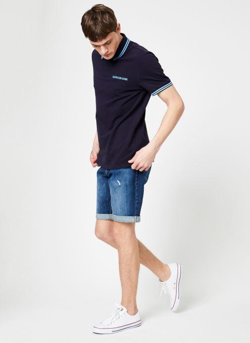 Vêtements Calvin Klein Jeans SLIM TIPPING POLO --14 Bleu vue bas / vue portée sac