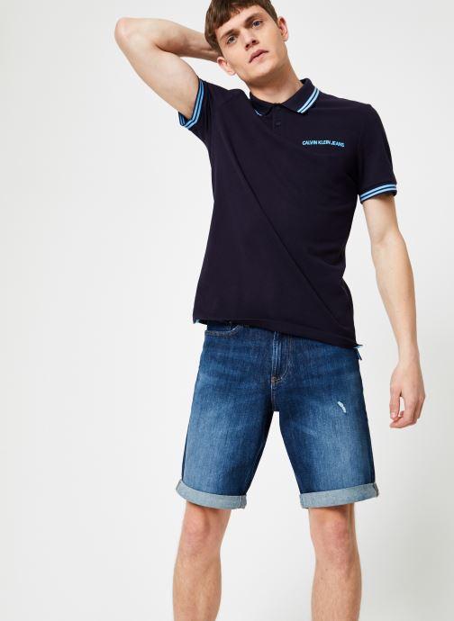 Vêtements Calvin Klein Jeans SLIM TIPPING POLO --14 Bleu vue droite