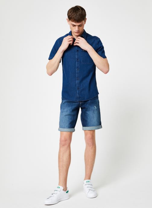 Vêtements Calvin Klein Jeans INDIGO INSTIT POCKET REG SS Bleu vue bas / vue portée sac